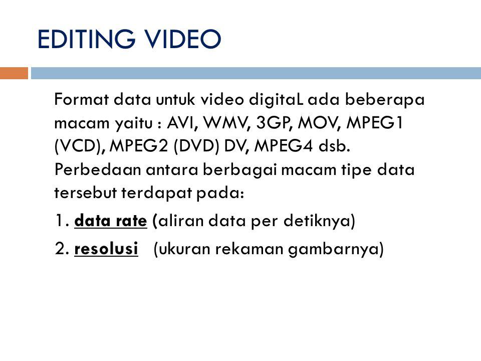 Format data untuk video digitaL ada beberapa macam yaitu : AVI, WMV, 3GP, MOV, MPEG1 (VCD), MPEG2 (DVD) DV, MPEG4 dsb. Perbedaan antara berbagai macam