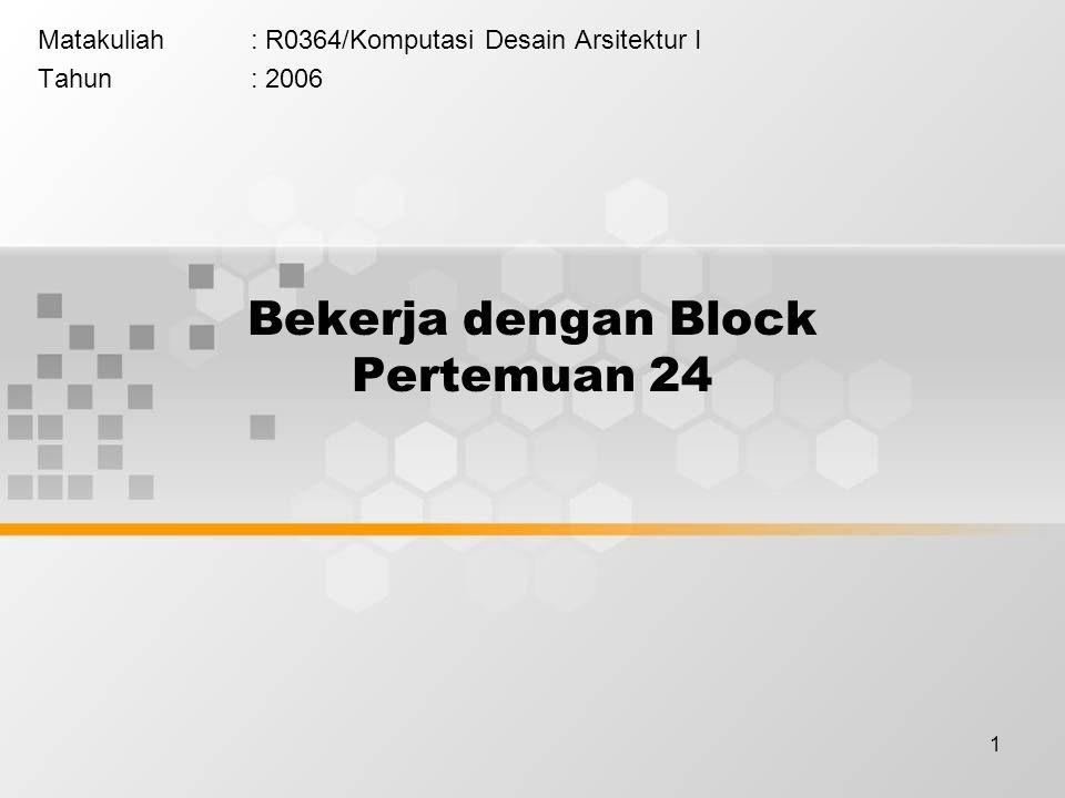 2 Menyunting Obyek Block Ada dua alternatif untuk menyunting sebuah obyek block yaitu dengan cara menguraikannya menjadi masing – masing elemen obyek pembentuknya atau tetap mempertahankan block.