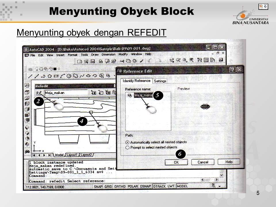 16 Bekerja dengan Attribute Memasukkan block attribute 1.Klik menu insert lalu pilih Block 2.Pilih block dari daftar block pada dialog insert 3.Klik OK 4.Tentukan titik posisi block 5.Ketik nama judul gambar 6.Ketik skala gambar