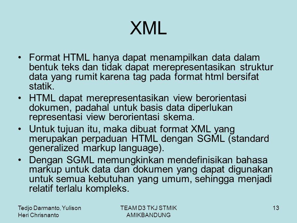 Tedjo Darmanto, Yulison Heri Chrisnanto TEAM D3 TKJ STMIK AMIKBANDUNG 13 XML Format HTML hanya dapat menampilkan data dalam bentuk teks dan tidak dapat merepresentasikan struktur data yang rumit karena tag pada format html bersifat statik.