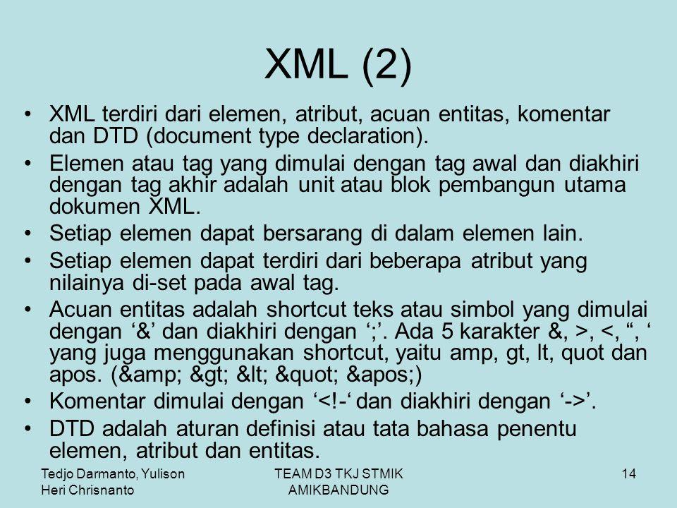 Tedjo Darmanto, Yulison Heri Chrisnanto TEAM D3 TKJ STMIK AMIKBANDUNG 14 XML (2) XML terdiri dari elemen, atribut, acuan entitas, komentar dan DTD (document type declaration).