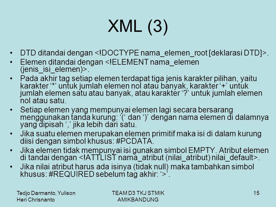 Tedjo Darmanto, Yulison Heri Chrisnanto TEAM D3 TKJ STMIK AMIKBANDUNG 15 XML (3) DTD ditandai dengan.