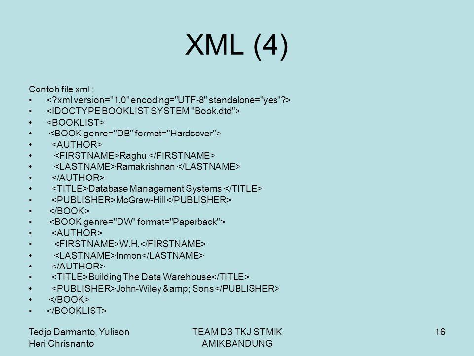 Tedjo Darmanto, Yulison Heri Chrisnanto TEAM D3 TKJ STMIK AMIKBANDUNG 16 XML (4) Contoh file xml : Raghu Ramakrishnan Database Management Systems McGraw-Hill W.H.