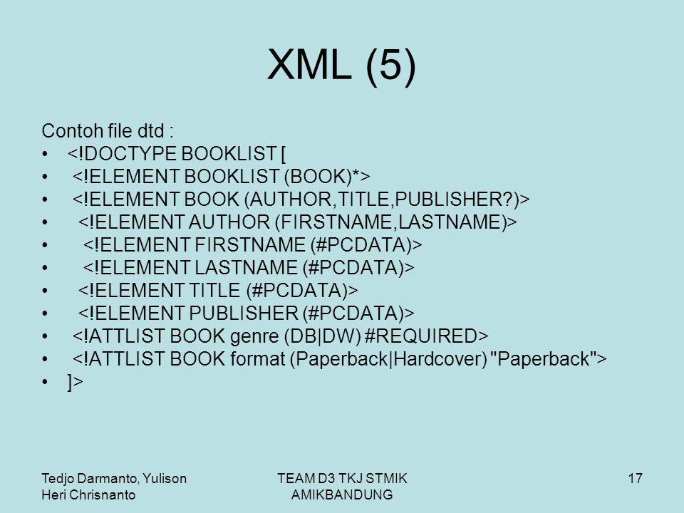 Tedjo Darmanto, Yulison Heri Chrisnanto TEAM D3 TKJ STMIK AMIKBANDUNG 17 XML (5) Contoh file dtd : <!DOCTYPE BOOKLIST [ ]>