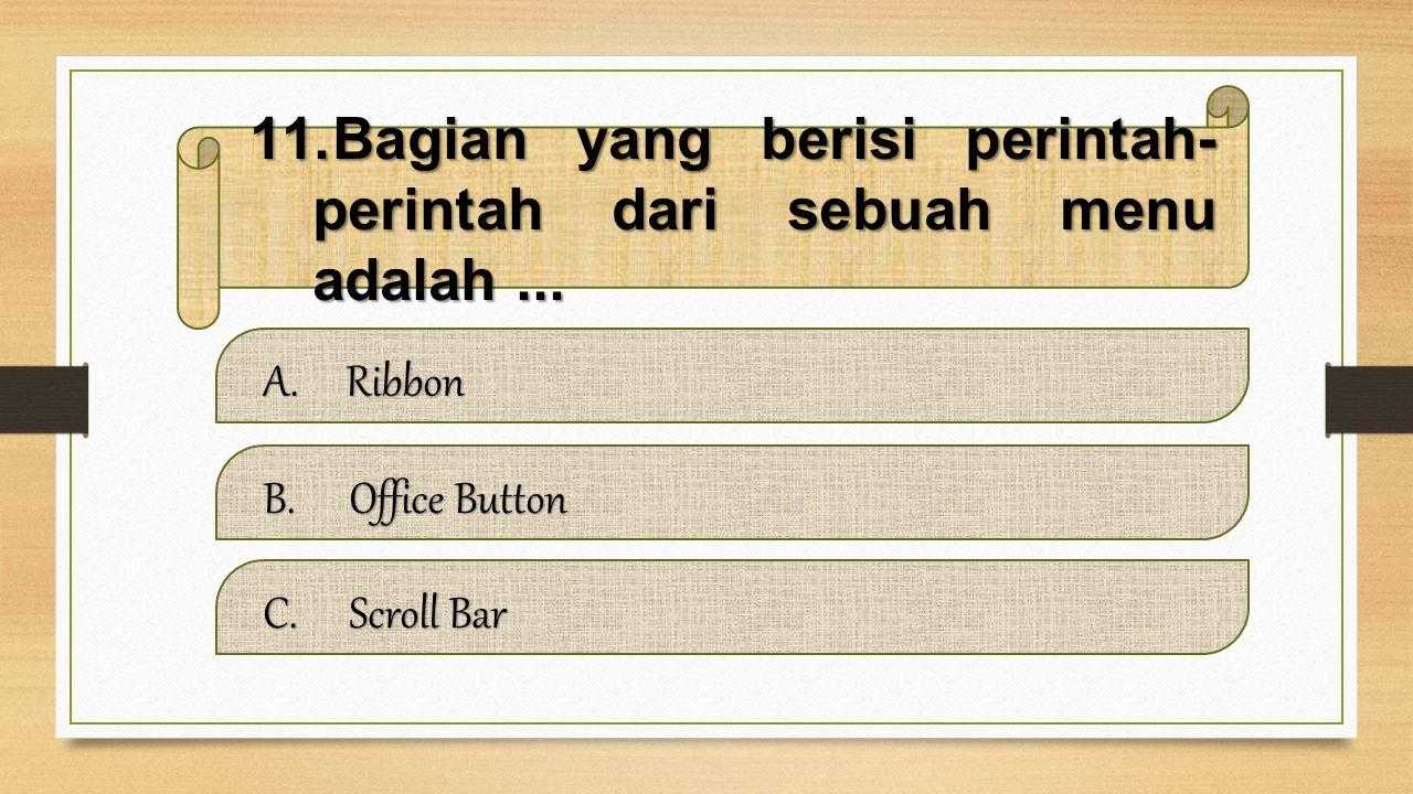 10.Bagian yang menampilkan beberapa pilihan pemformatan publisher adalah... A.Format Publication Format PublicationFormat Publication B.Ribbon Ribbon