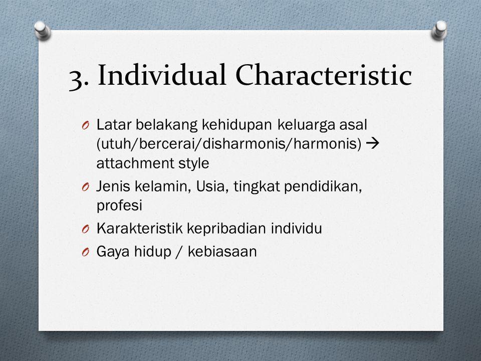 3. Individual Characteristic O Latar belakang kehidupan keluarga asal (utuh/bercerai/disharmonis/harmonis)  attachment style O Jenis kelamin, Usia, t