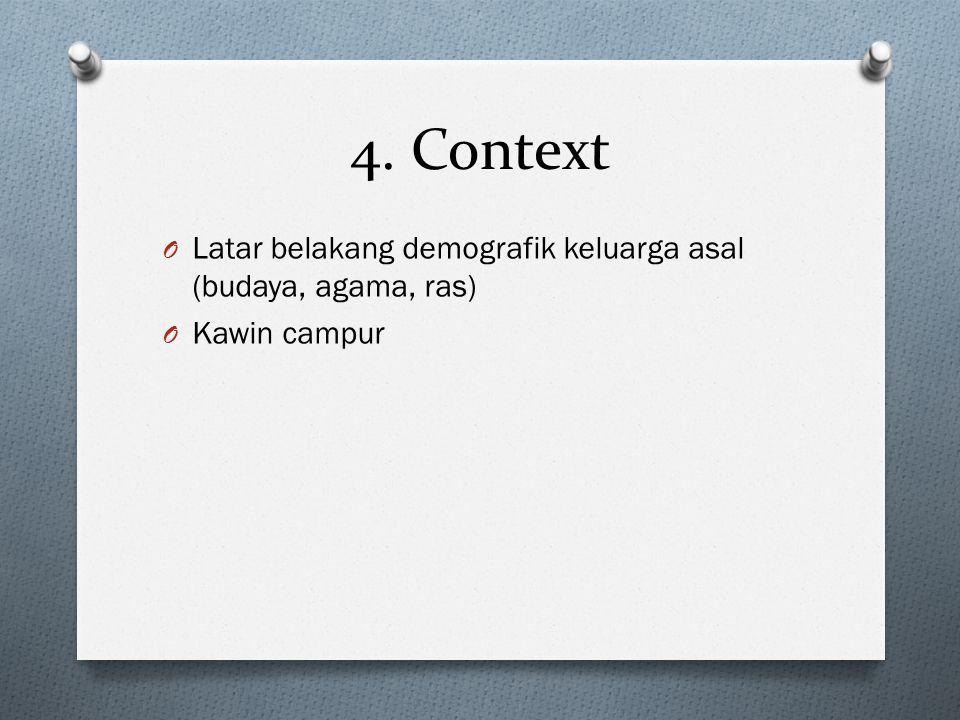 4. Context O Latar belakang demografik keluarga asal (budaya, agama, ras) O Kawin campur