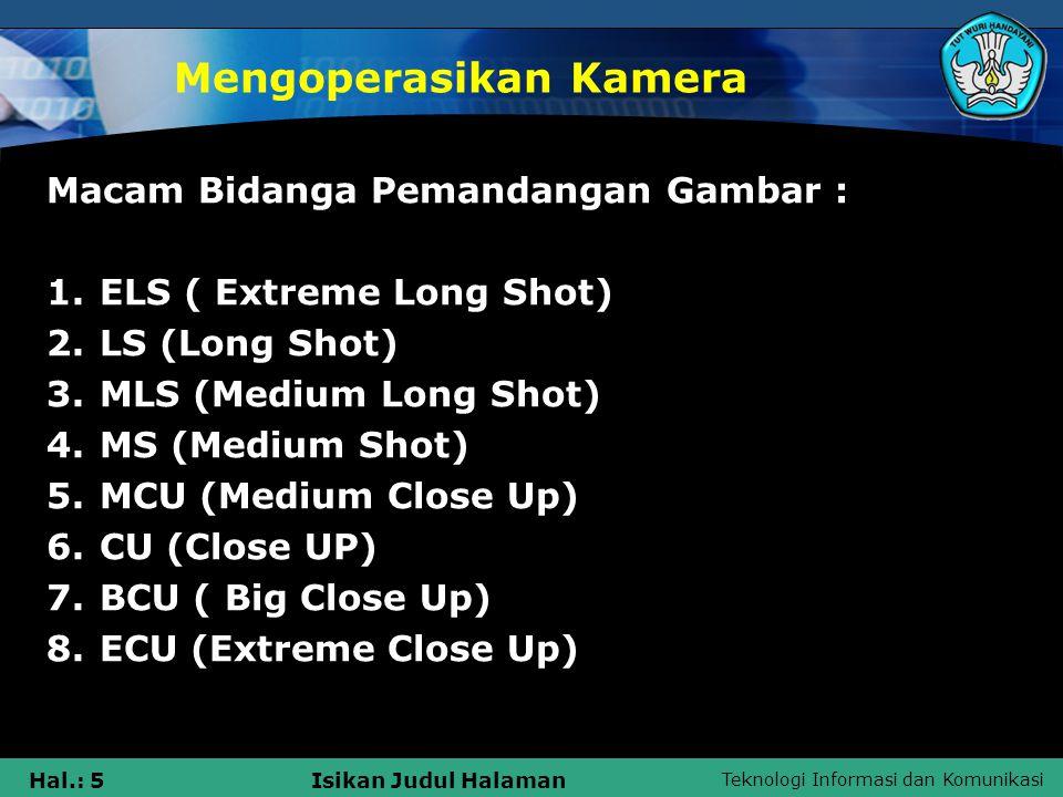 Teknologi Informasi dan Komunikasi Hal.: 6Isikan Judul Halaman Mengoperasikan Kamera -ELS ( Extreme Long Shot) Shot sangat jauh, menyajikan bidang pandangan yang sangat luas, kamera mengambil keseluruhan pandangan.