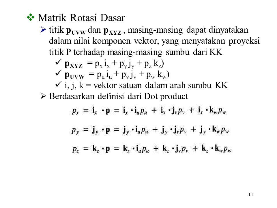 11  Matrik Rotasi Dasar  titik p UVW dan p XYZ, masing-masing dapat dinyatakan dalam nilai komponen vektor, yang menyatakan proyeksi titik P terhada