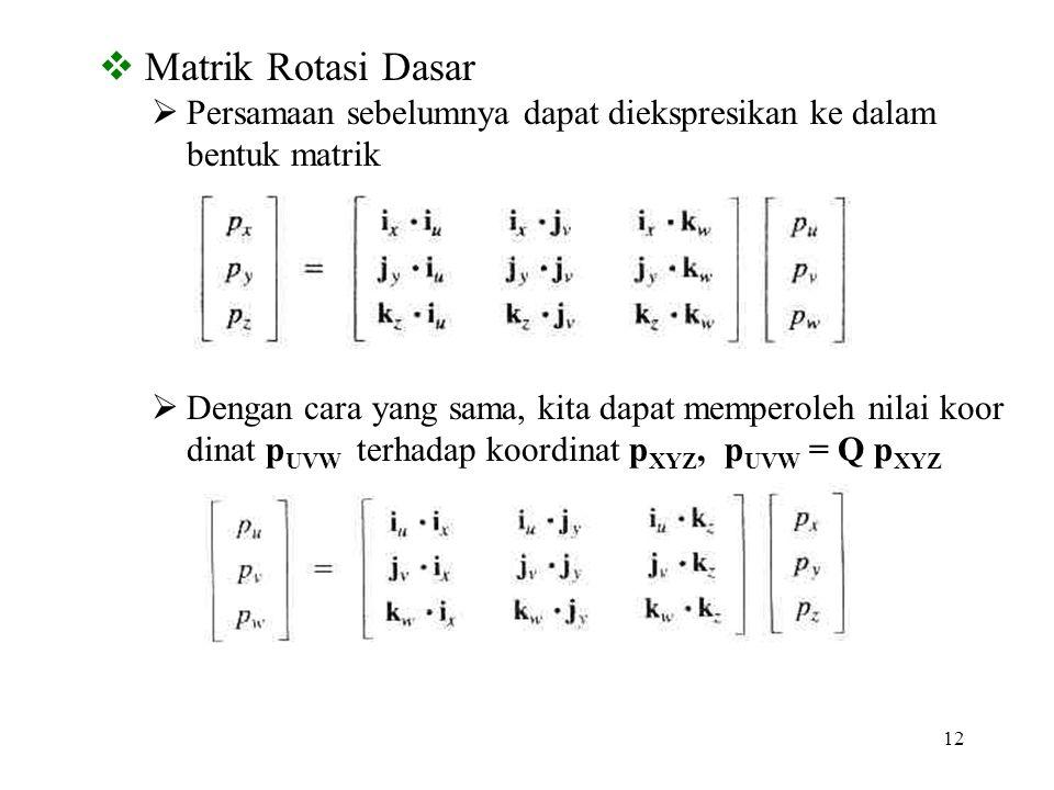 12  Matrik Rotasi Dasar  Persamaan sebelumnya dapat diekspresikan ke dalam bentuk matrik  Dengan cara yang sama, kita dapat memperoleh nilai koor d