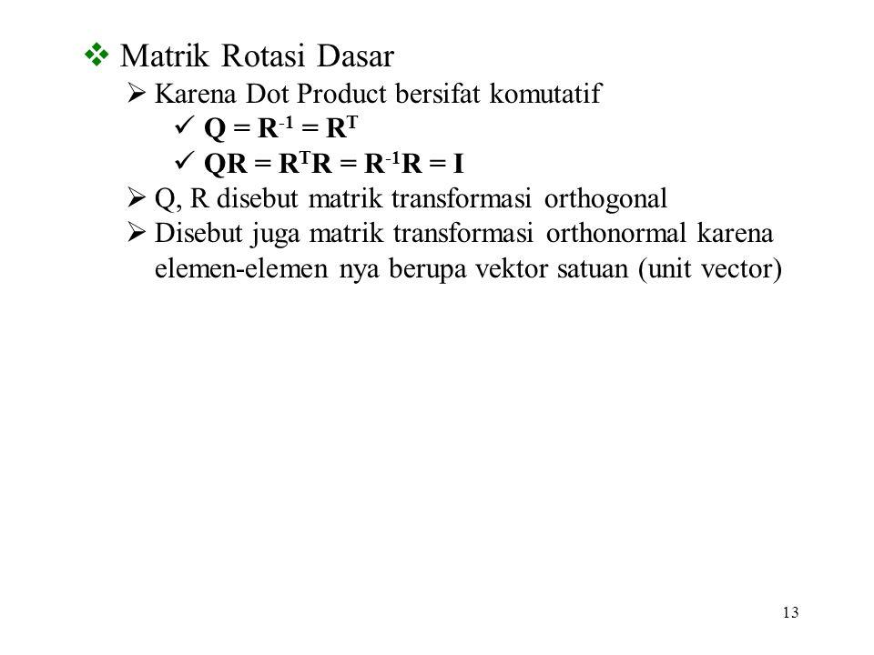 13  Matrik Rotasi Dasar  Karena Dot Product bersifat komutatif Q = R -1 = R T QR = R T R = R -1 R = I  Q, R disebut matrik transformasi orthogonal