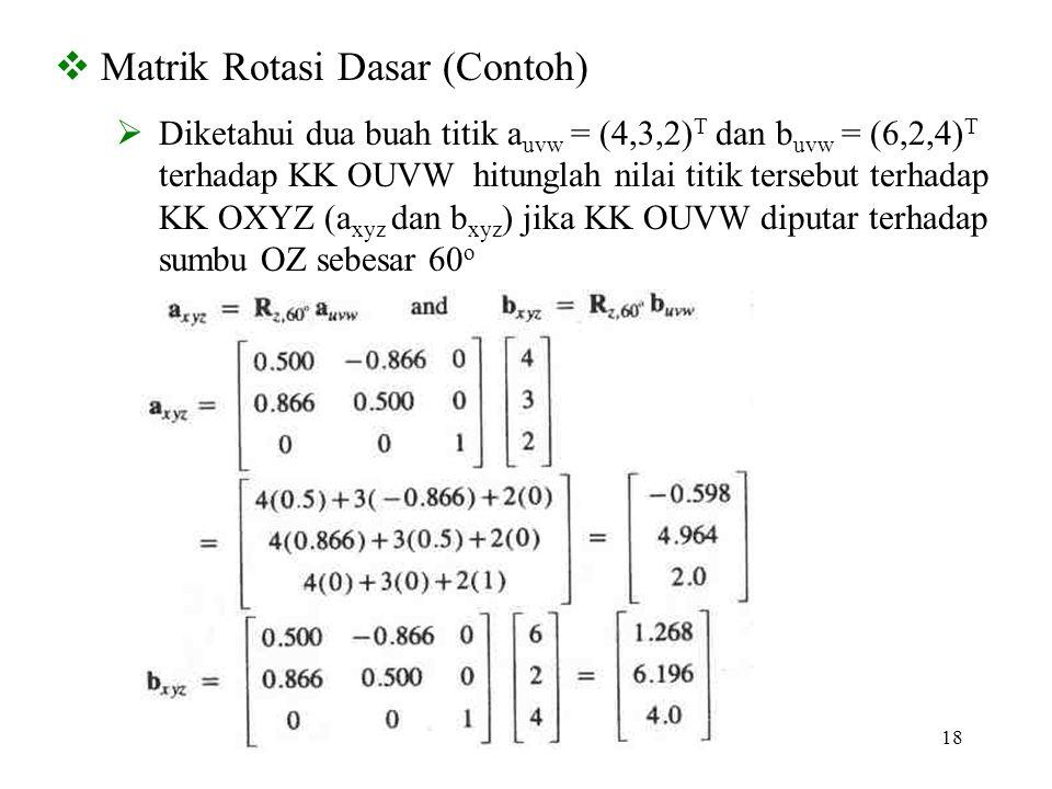 18  Matrik Rotasi Dasar (Contoh)  Diketahui dua buah titik a uvw = (4,3,2) T dan b uvw = (6,2,4) T terhadap KK OUVW hitunglah nilai titik tersebut t