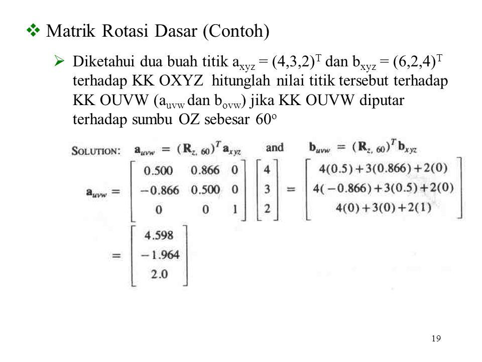 19  Matrik Rotasi Dasar (Contoh)  Diketahui dua buah titik a xyz = (4,3,2) T dan b xyz = (6,2,4) T terhadap KK OXYZ hitunglah nilai titik tersebut t