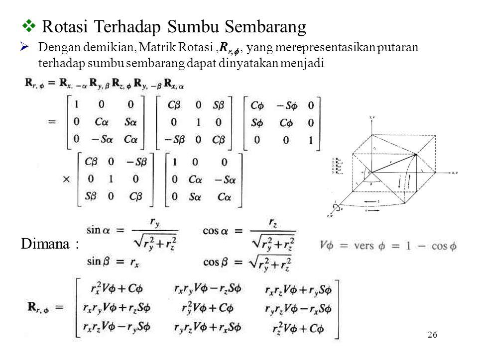 26  Rotasi Terhadap Sumbu Sembarang  Dengan demikian, Matrik Rotasi,R r, , yang merepresentasikan putaran terhadap sumbu sembarang dapat dinyatakan