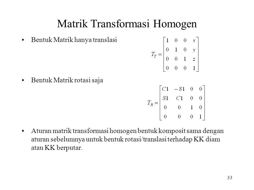 33 Matrik Transformasi Homogen Bentuk Matrik hanya translasi Bentuk Matrik rotasi saja Aturan matrik transformasi homogen bentuk komposit sama dengan