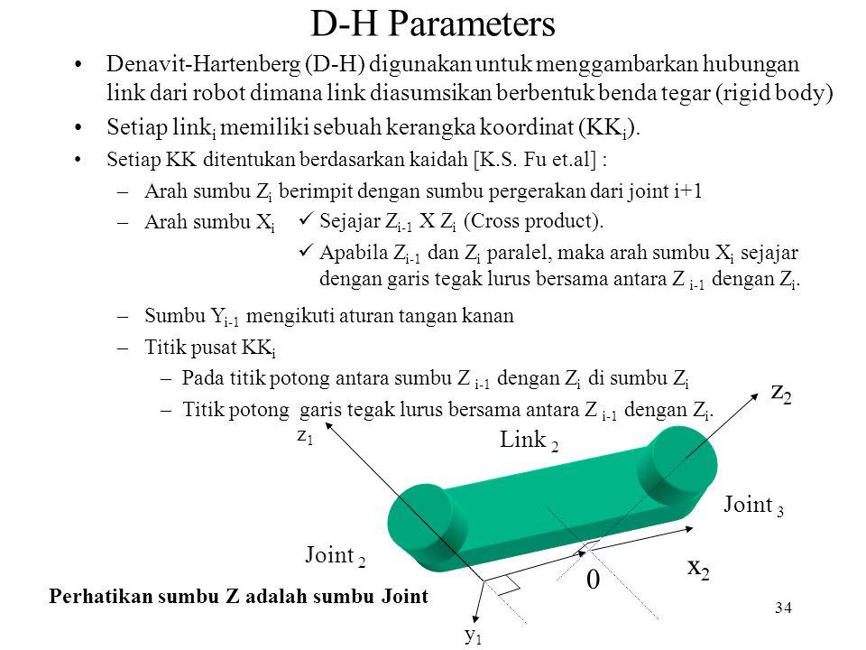 34 D-H Parameters Denavit-Hartenberg (D-H) digunakan untuk menggambarkan hubungan link dari robot dimana link diasumsikan berbentuk benda tegar (rigid