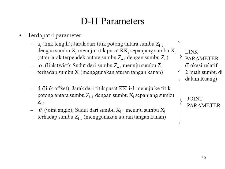 39 D-H Parameters Terdapat 4 parameter –a i (link length); Jarak dari titik potong antara sumbu Z i-1 dengan sumbu X i menuju titik pusat KK i sepanja