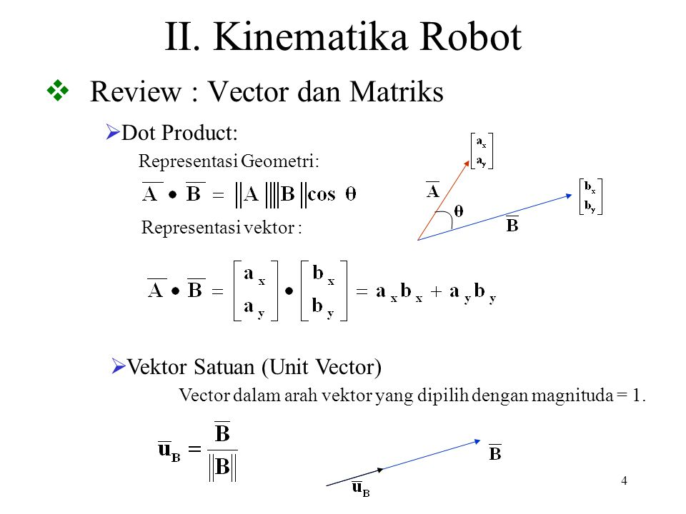 55 Tugas Akhir (Manipulator and Mobile Robot) Low-level control motors purely reactive control behavioral control Sensing and Modeling sensors kinematics workspace modeling Spatial reasoning decomposing space path planning with and w/o full knowledge Handling uncertainty building maps localization sensor fusion & filtering Vision tracking visual servoing A B C D E X E