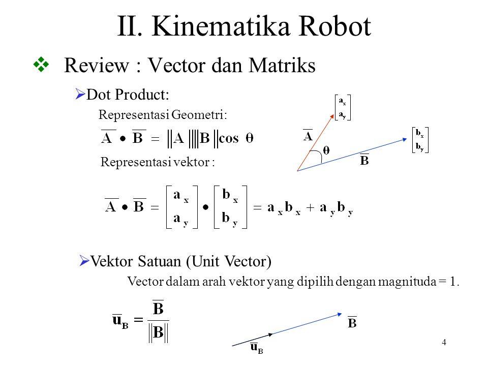 35 D-H Parameters Denavit-Hartenberg (D-H) digunakan untuk menggambarkan hubungan link dari robot dimana link diasumsikan berbentuk benda tegar (rigid body) Setiap link i memiliki sebuah kerangka koordinat (KK i ).
