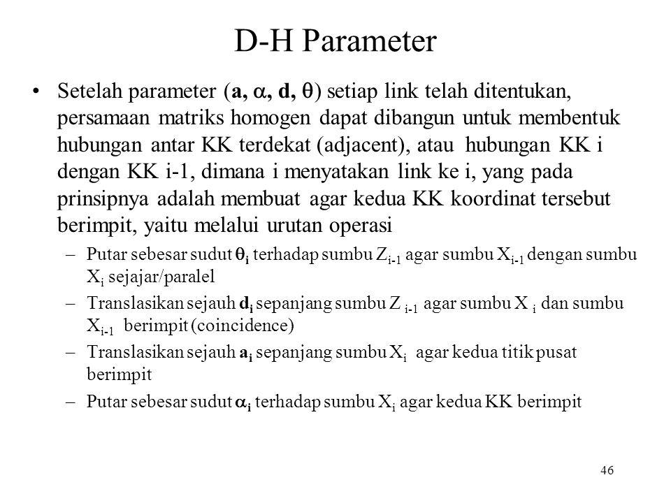46 D-H Parameter Setelah parameter (a, , d,  ) setiap link telah ditentukan, persamaan matriks homogen dapat dibangun untuk membentuk hubungan antar