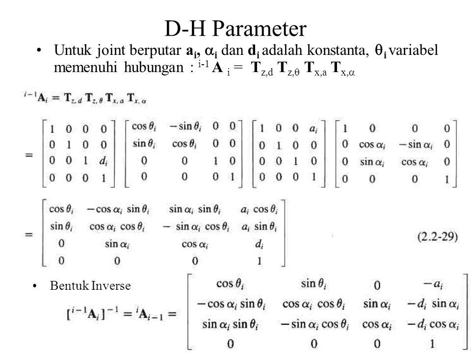 47 D-H Parameter Bentuk Inverse Untuk joint berputar a i,  i dan d i adalah konstanta,  i variabel memenuhi hubungan : i-1 A i = T z,d T z,  T x,a