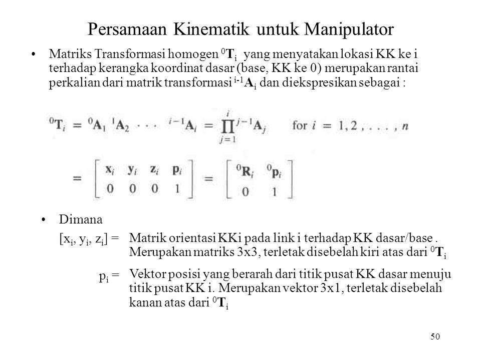 50 Persamaan Kinematik untuk Manipulator Matriks Transformasi homogen 0 T i yang menyatakan lokasi KK ke i terhadap kerangka koordinat dasar (base, KK