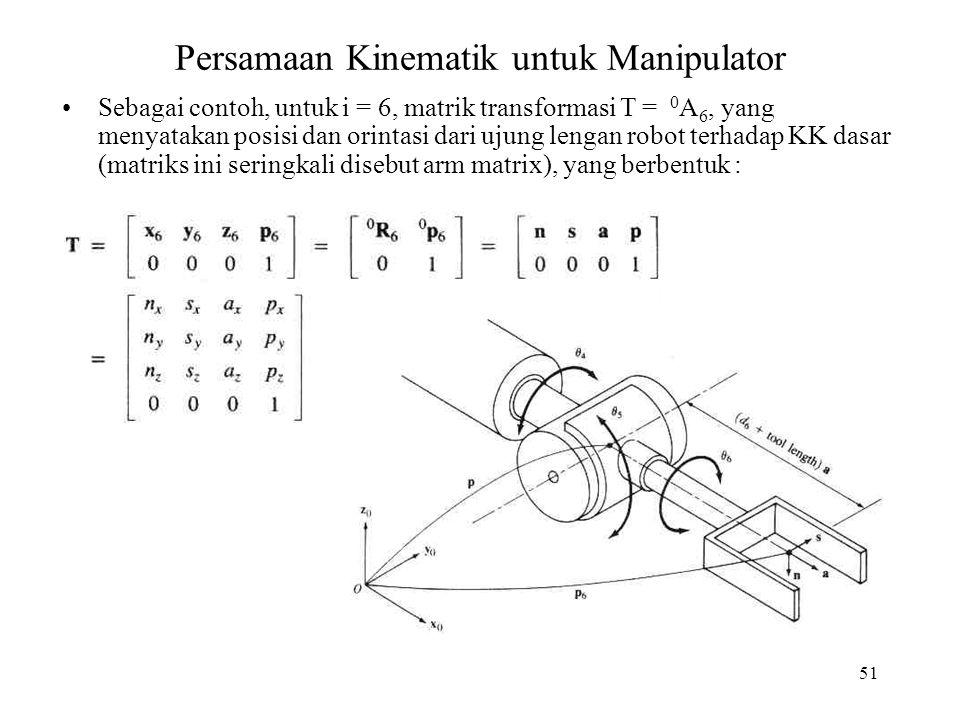 51 Persamaan Kinematik untuk Manipulator Sebagai contoh, untuk i = 6, matrik transformasi T = 0 A 6, yang menyatakan posisi dan orintasi dari ujung le