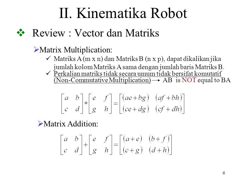 17  Matrik Rotasi Dasar  Rotasi Terhadap Sumbu Z p XYZ = R z,  p UVW  k z  k w