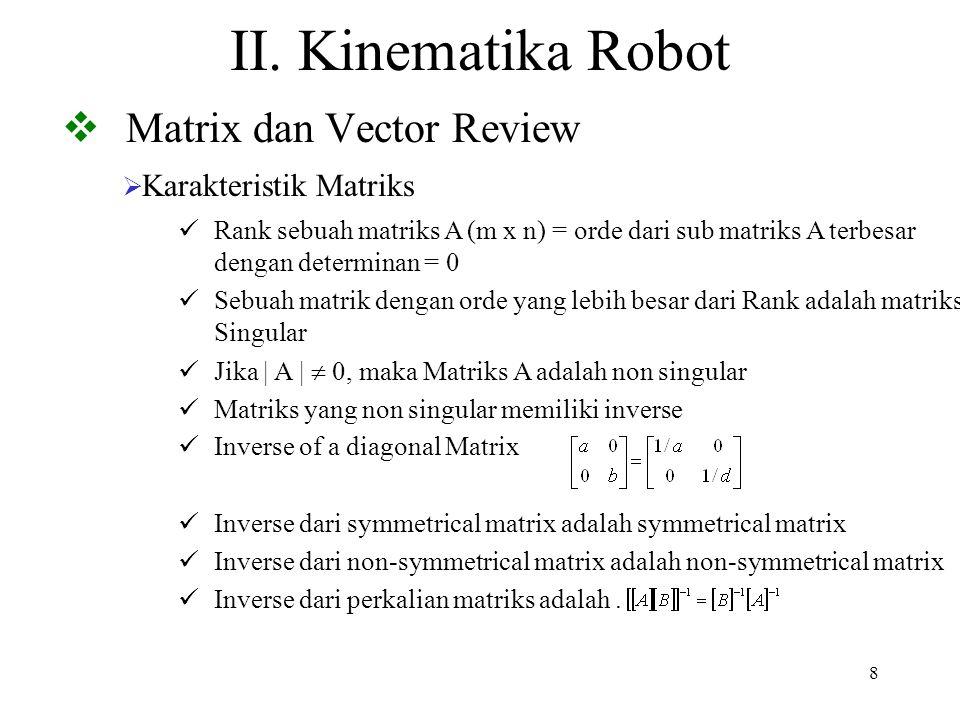 8 II. Kinematika Robot  Matrix dan Vector Review  Karakteristik Matriks Inverse of a diagonal Matrix Inverse dari symmetrical matrix adalah symmetri