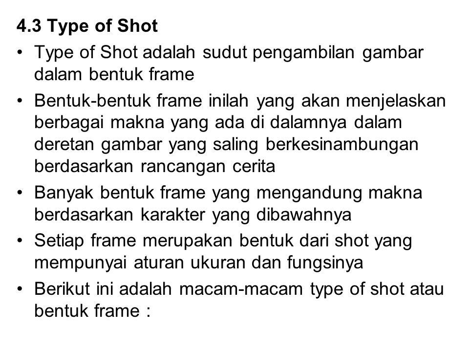 4.3 Type of Shot Type of Shot adalah sudut pengambilan gambar dalam bentuk frame Bentuk-bentuk frame inilah yang akan menjelaskan berbagai makna yang