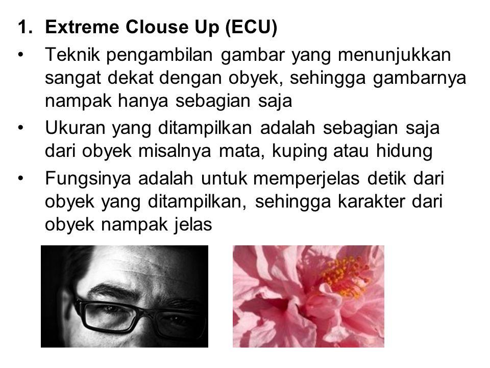 1.Extreme Clouse Up (ECU) Teknik pengambilan gambar yang menunjukkan sangat dekat dengan obyek, sehingga gambarnya nampak hanya sebagian saja Ukuran y