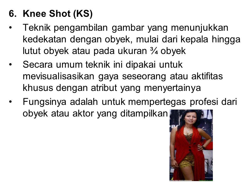 6.Knee Shot (KS) Teknik pengambilan gambar yang menunjukkan kedekatan dengan obyek, mulai dari kepala hingga lutut obyek atau pada ukuran ¾ obyek Seca