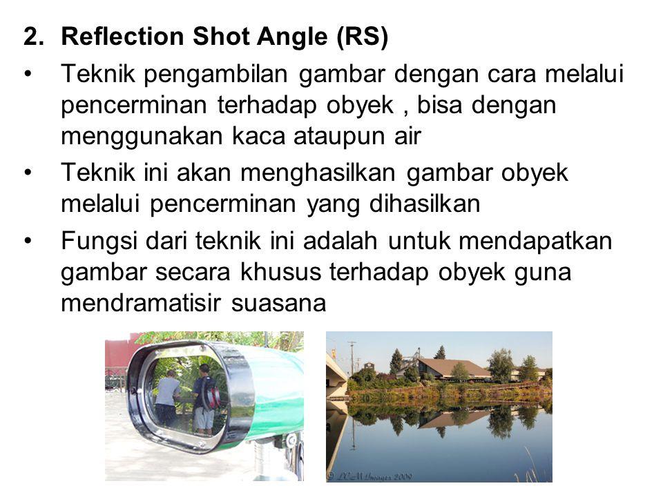 2.Reflection Shot Angle (RS) Teknik pengambilan gambar dengan cara melalui pencerminan terhadap obyek, bisa dengan menggunakan kaca ataupun air Teknik