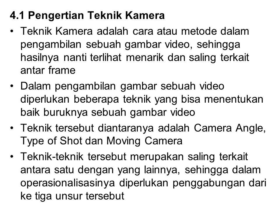 4.1 Pengertian Teknik Kamera Teknik Kamera adalah cara atau metode dalam pengambilan sebuah gambar video, sehingga hasilnya nanti terlihat menarik dan