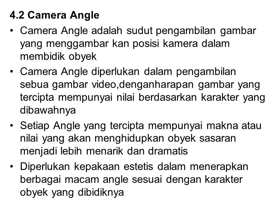 4.2 Camera Angle Camera Angle adalah sudut pengambilan gambar yang menggambar kan posisi kamera dalam membidik obyek Camera Angle diperlukan dalam pen