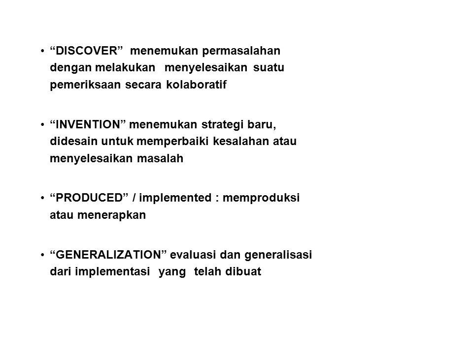 """""""DISCOVER"""" menemukan permasalahan dengan melakukan menyelesaikan suatu pemeriksaan secara kolaboratif """"INVENTION"""" menemukan strategi baru, didesain un"""