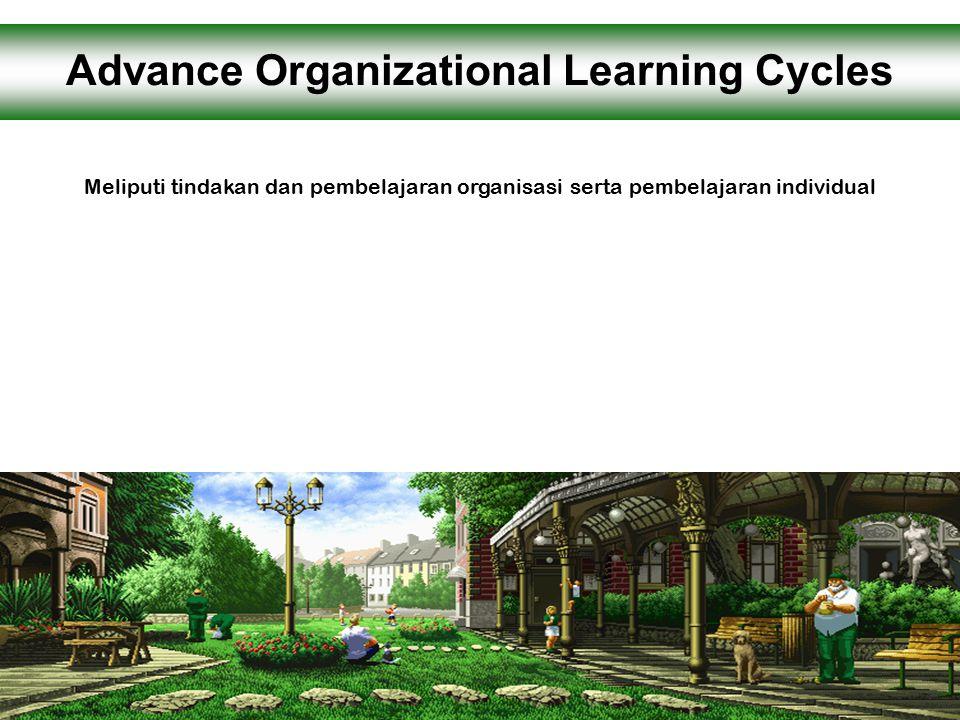 Meliputi tindakan dan pembelajaran organisasi serta pembelajaran individual Advance Organizational Learning Cycles