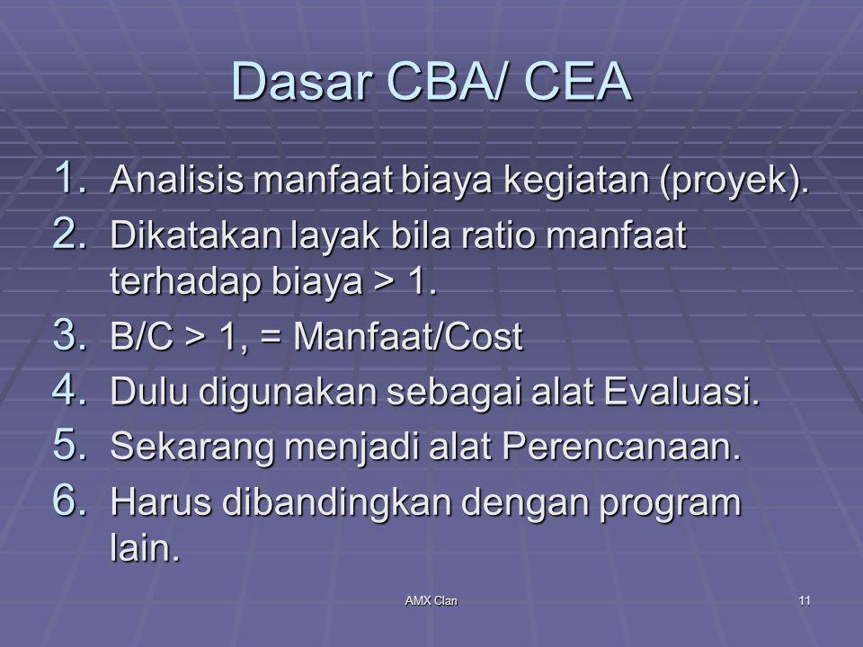 AMX Clan11 Dasar CBA/ CEA 1. Analisis manfaat biaya kegiatan (proyek). 2. Dikatakan layak bila ratio manfaat terhadap biaya > 1. 3. B/C > 1, = Manfaat