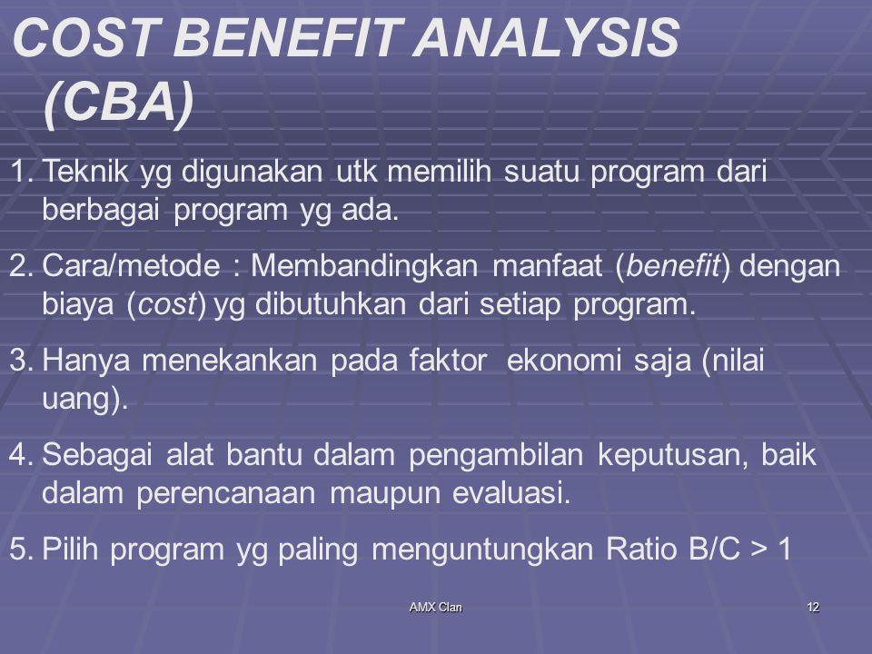 AMX Clan12 COST BENEFIT ANALYSIS (CBA) 1.Teknik yg digunakan utk memilih suatu program dari berbagai program yg ada. 2.Cara/metode : Membandingkan man