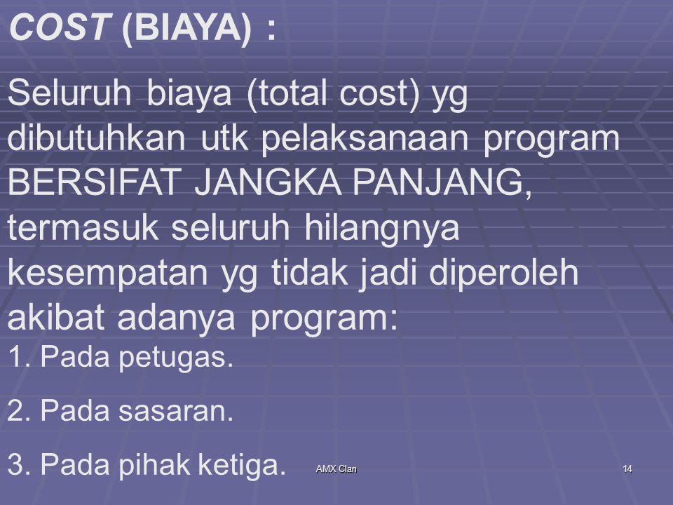 AMX Clan14 COST (BIAYA) : Seluruh biaya (total cost) yg dibutuhkan utk pelaksanaan program BERSIFAT JANGKA PANJANG, termasuk seluruh hilangnya kesempa