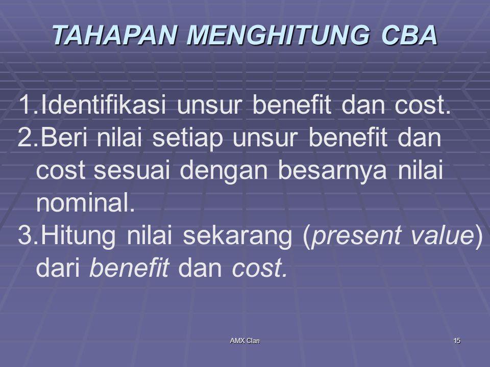 AMX Clan15 TAHAPAN MENGHITUNG CBA 1.Identifikasi unsur benefit dan cost. 2.Beri nilai setiap unsur benefit dan cost sesuai dengan besarnya nilai nomin
