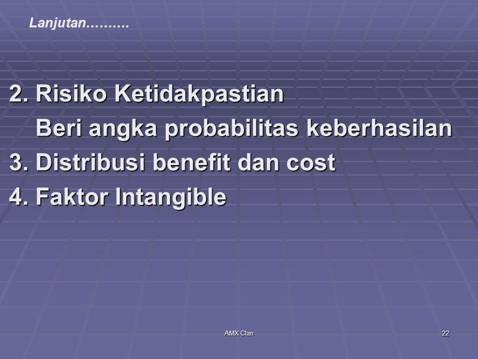 AMX Clan22 2. Risiko Ketidakpastian Beri angka probabilitas keberhasilan Beri angka probabilitas keberhasilan 3. Distribusi benefit dan cost 4. Faktor