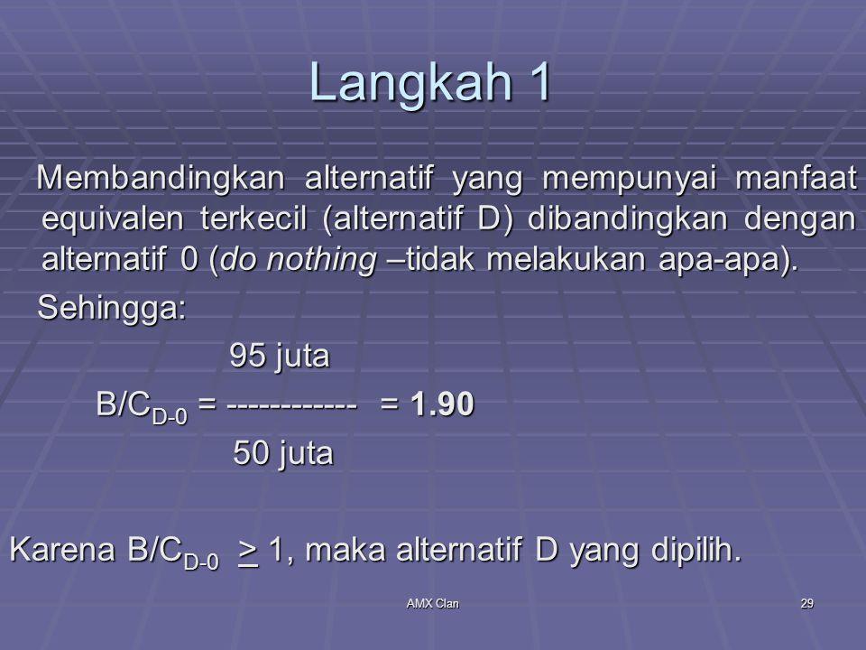 AMX Clan29 Langkah 1 Membandingkan alternatif yang mempunyai manfaat equivalen terkecil (alternatif D) dibandingkan dengan alternatif 0 (do nothing –t