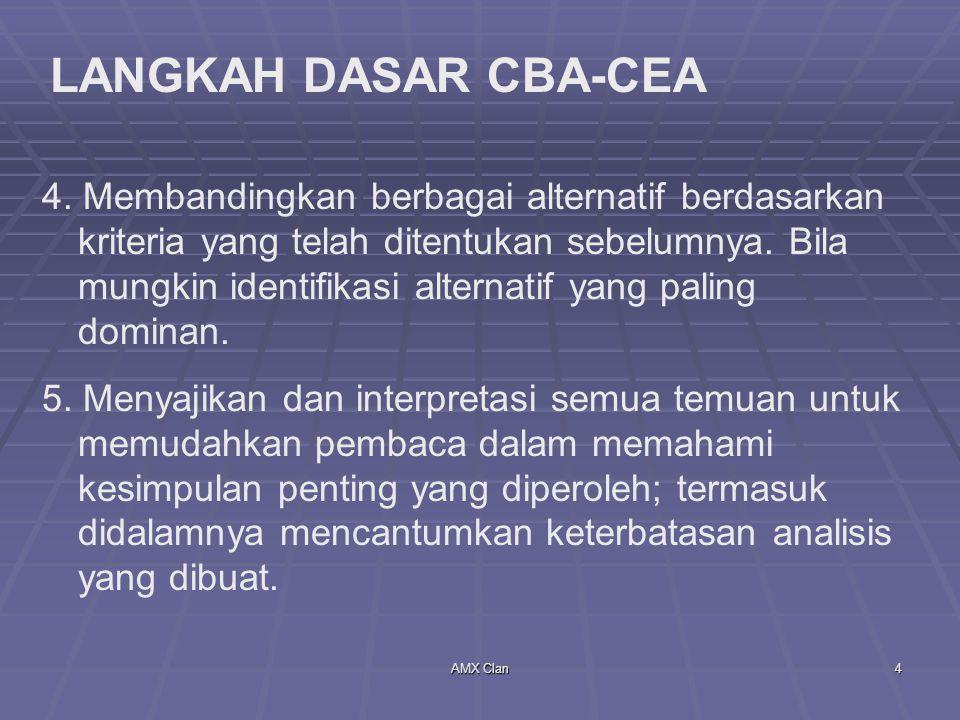 AMX Clan4 LANGKAH DASAR CBA-CEA 4. Membandingkan berbagai alternatif berdasarkan kriteria yang telah ditentukan sebelumnya. Bila mungkin identifikasi