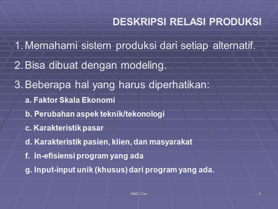 AMX Clan6 DESKRIPSI RELASI PRODUKSI 1.Memahami sistem produksi dari setiap alternatif. 2.Bisa dibuat dengan modeling. 3.Beberapa hal yang harus diperh