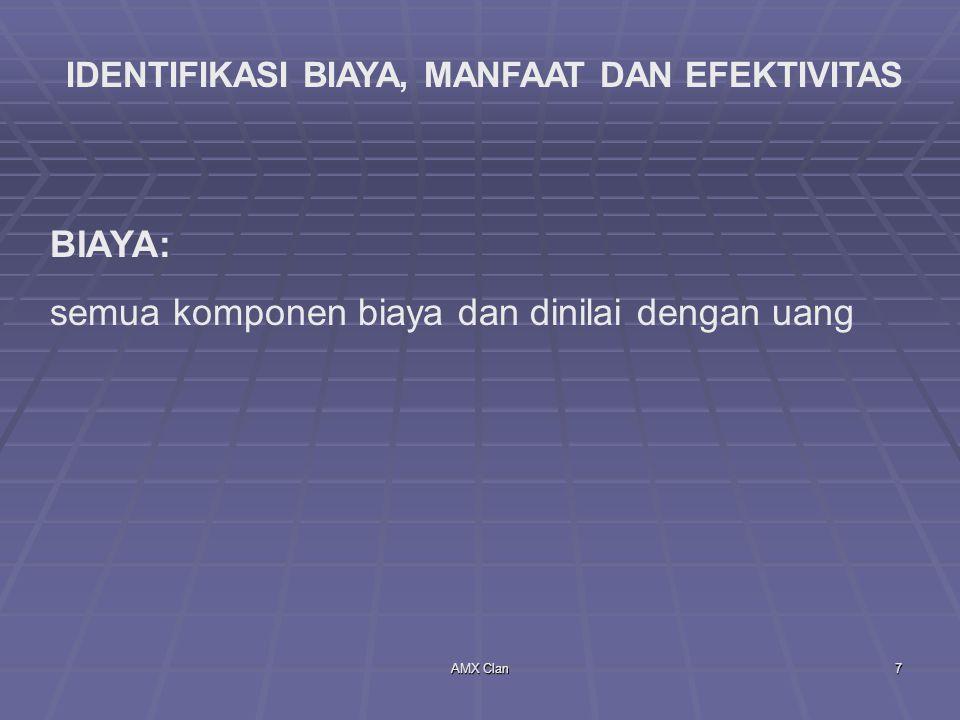 AMX Clan8 MANFAAT DAN EFEKTIVITAS 1.Manfaat Kesehatan Individual 2.Manfaat Sumber Daya Kesehatan 3.Manfaat Ekonomis Lainnya 4.Manfaat Sosial Lainnya 5.Intermediate Outcomes.