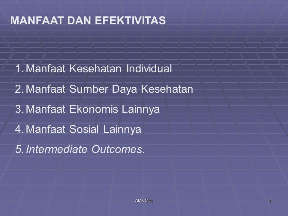 AMX Clan9 PENILAIAN MANFAAT KESEHATAN 1.Human Capital 2.Willingness To Pay 3.Health Status Indexes.
