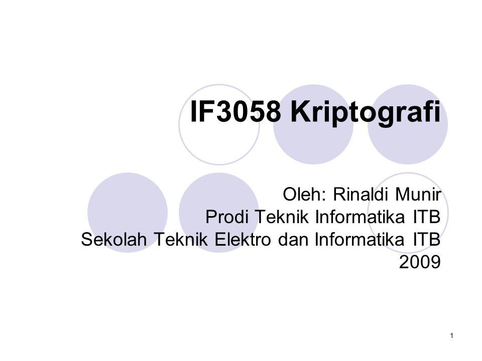 1 IF3058 Kriptografi Oleh: Rinaldi Munir Prodi Teknik Informatika ITB Sekolah Teknik Elektro dan Informatika ITB 2009