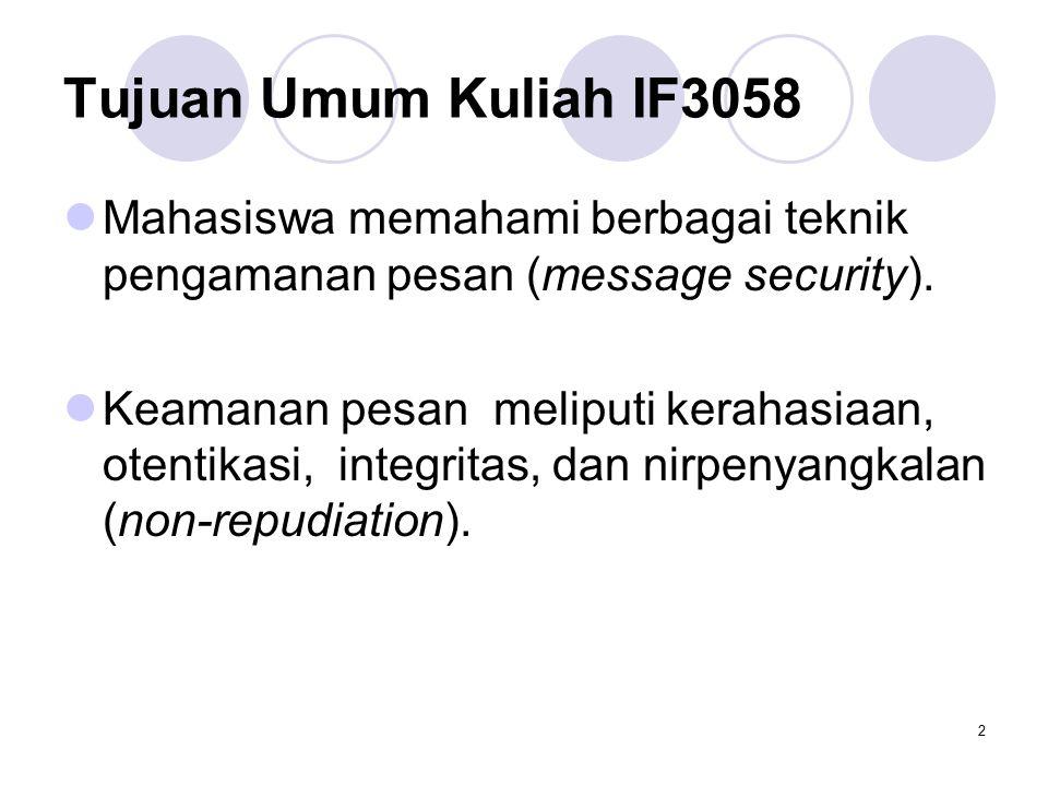 2 Tujuan Umum Kuliah IF3058 Mahasiswa memahami berbagai teknik pengamanan pesan (message security).