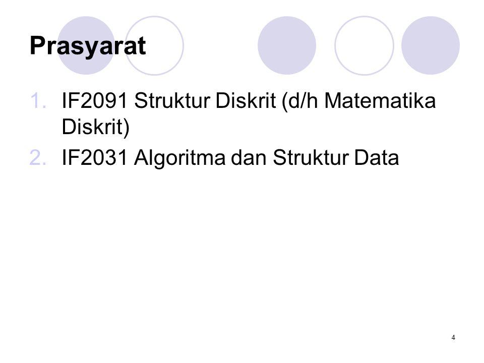4 Prasyarat 1.IF2091 Struktur Diskrit (d/h Matematika Diskrit) 2.IF2031 Algoritma dan Struktur Data